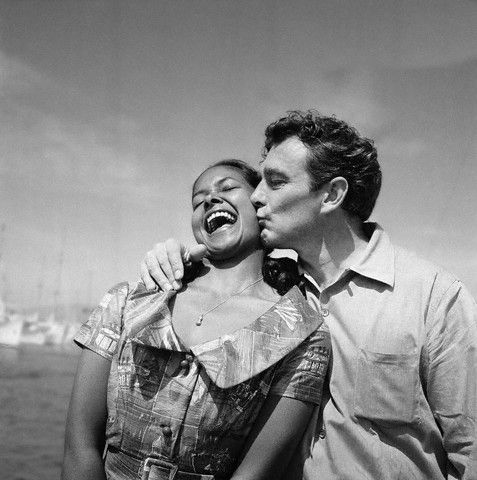 """vintageblackglamour:    Marpessa Dawn with """"Black Orpheus"""" director Marcel Camus at the 1959 Cannes Film Festival. """"Black Orpheus"""" won the Palme d'Or at the festival as well as the 1960 Academy Award for Best Foreign Language Film."""