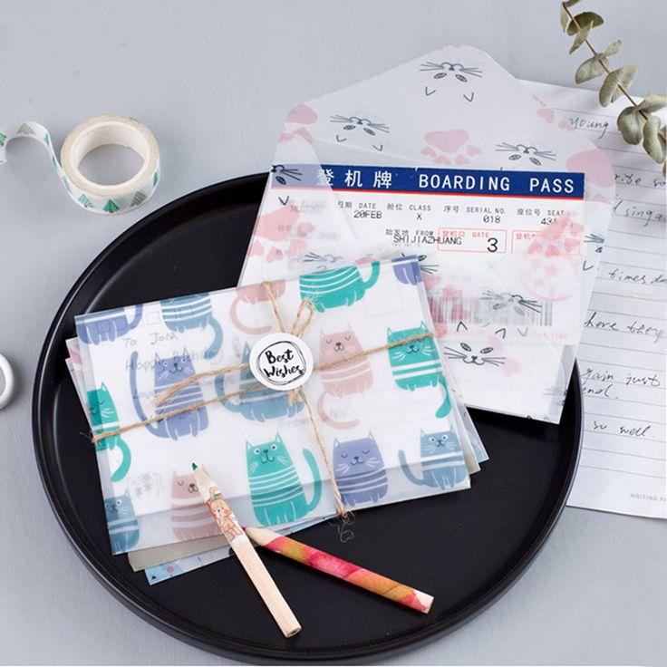 3 pcs/set Cute cat Sulfuric acid paper Envelope Kawaii stationery Office&School Supplies envelope for Wedding Letter Invitation
