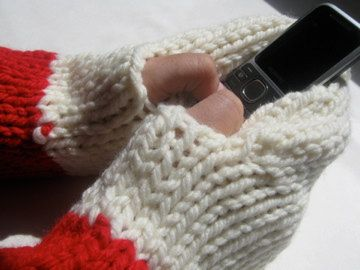 Ladies Texting MITTS Hand-warmers,  Knit Gift, Ivory, Red, Acrylic, READY to ship by KnitIdea on Etsy