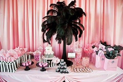 Candy Table Sweet Table #Barbie #Birthday #Party #Baby #Shower Girl Party #Bachelorette #Girls Just wanna have #fun #Pink #Entrance #Fashion #Show #Celebration Pink Cake Pops Black Feathers Gift Bags