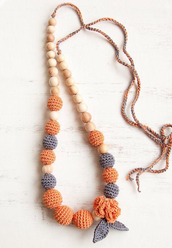 nursing necklace - teething necklace - salmon - grey