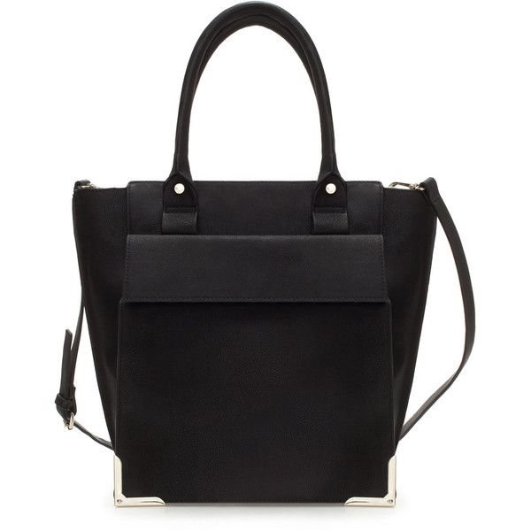 Zara Shopper With Pocket (135 BRL) ❤ liked on Polyvore featuring bags, handbags, tote bags, black, pocket tote bag, shopper tote, zara tote bag, zara handbags and zara tote