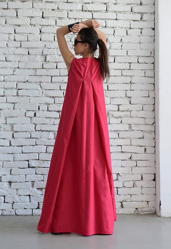 Cotton Candy Pink Maxi Dress / Oversize Loose Casual Dress /