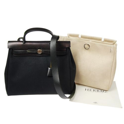 Auth HERMES HER BAG PM 2 in 1 Black Canvas Leather 2way Hand Bag ...
