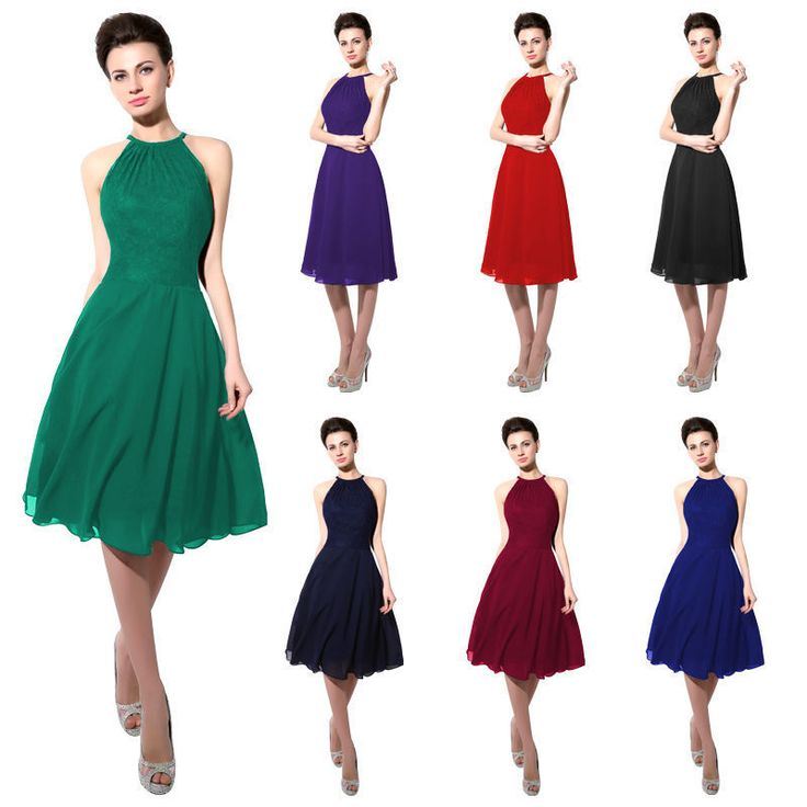 Womens Short Bridesmaids Dresses Halter Neck Party Lace Mini Gowns 2 4 6 8 10 12 #Sarahbridal #Sexy #Formal