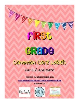 Common Core Labels for First Grade - all first grade math and ELA standards ready to print on 2x4 labels for easy planning and organizing!