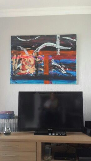 Large Abstract Acrylic on canvas by Nika