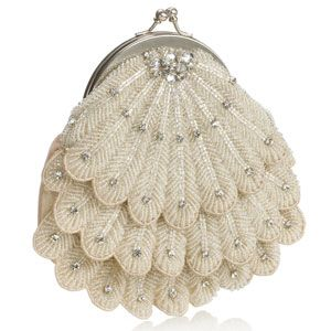 Monsoon Accessorize    This is the perfect bridal bag if you are having a vintage theme for your wedding.  The round shape with scalloped, beaded front and diamonte detail is reminescent of the 1920's  era, feminine and sophisticated with a touch of Hollywood glamour.  It also features a clasp opening and drop-in chain handle and is available from the Monsoon Bridal range at Accessorize for £40.