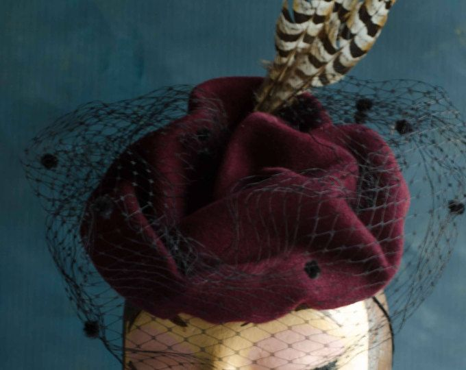 Vintage style, maroon felt hat, fasinator with black dot veil, feathers. Handshaped felt, race hat, winter race hat
