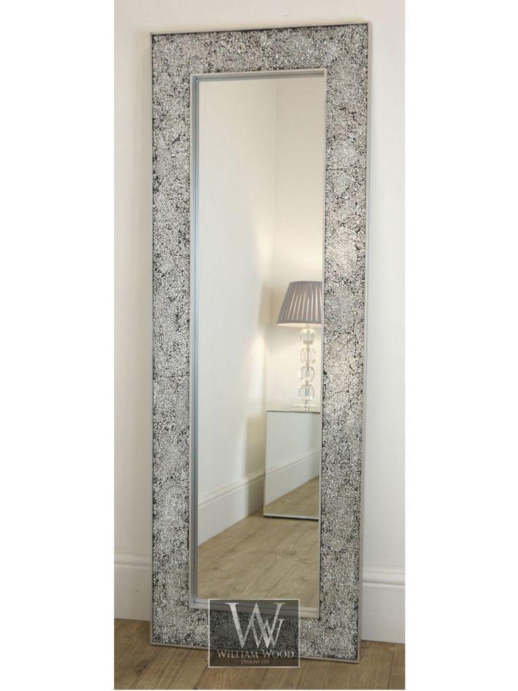 Ritz silver modern full length mosaic dress mirror 20 x for Long silver mirror