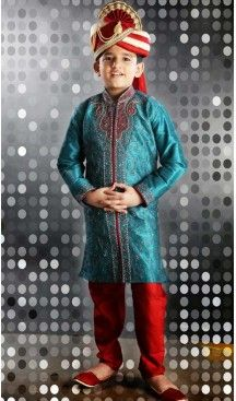 Magnificient Teal Blue Kids Boys Wear Kurta Pyjama