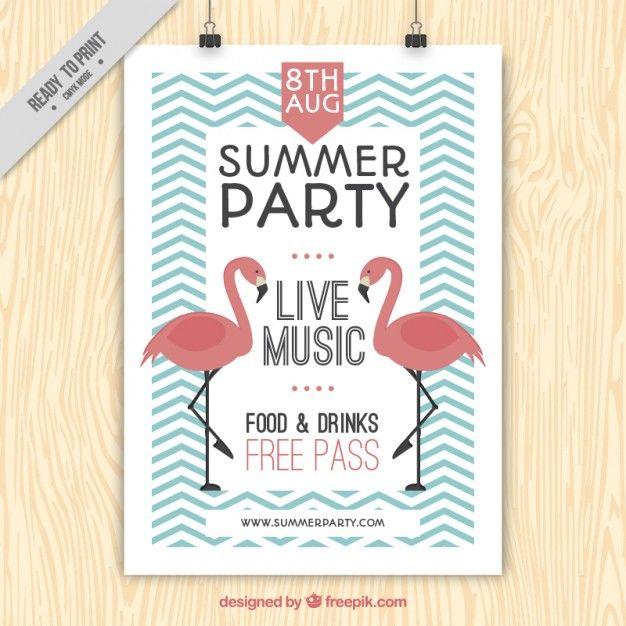 Affiche vintage de fête d'été avec des flamants roses et zig-zag lignes Vecteur gratuit