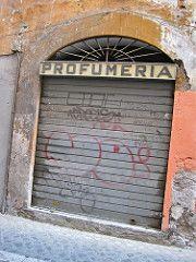 Profumeria, Rome, Italy (Robby Virus) Tags: door italy rome beauty metal shop graffiti store italian perfume roman entrance tags front rollup rolldown perfumeria