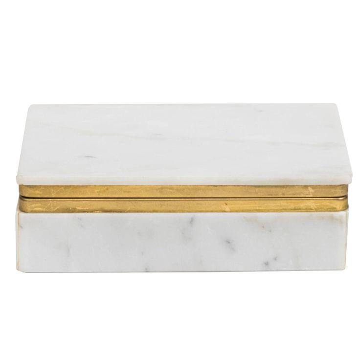 Italian Carrara Marble Jewelry, Dresser or Desk Box