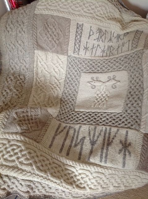 I chose this Viking-design blanket for my example of knotwork because it pertains to the class theme of family and cultural crafts. It contains several Norse elements, such as the two serpents and runes. Finally, it probably serves an important practical purpose in keeping people warm during the cold Scandinavian winters.