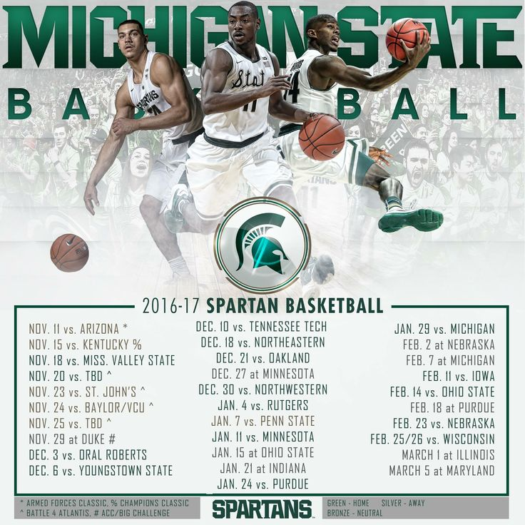 Spartan Basketball schedule