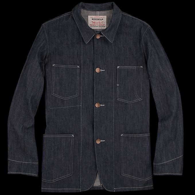 -Made in the USA. Designed as part of Levi's Golden Handshake collection, in celebration of the 100-year partnership between Levi's and Cone Denim Mills, this sack coat is based on an archival design and is made of a rigid Cone Mills denim fabric. -100% cotton. -Point collar with single...
