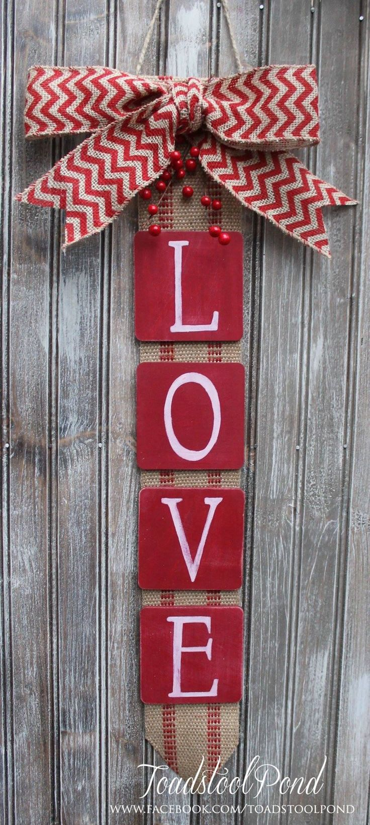 rustic love valentines wall hanging burlap chevron wreath alternative long wide features rustic webbing background burlap bow and red berry embellishment