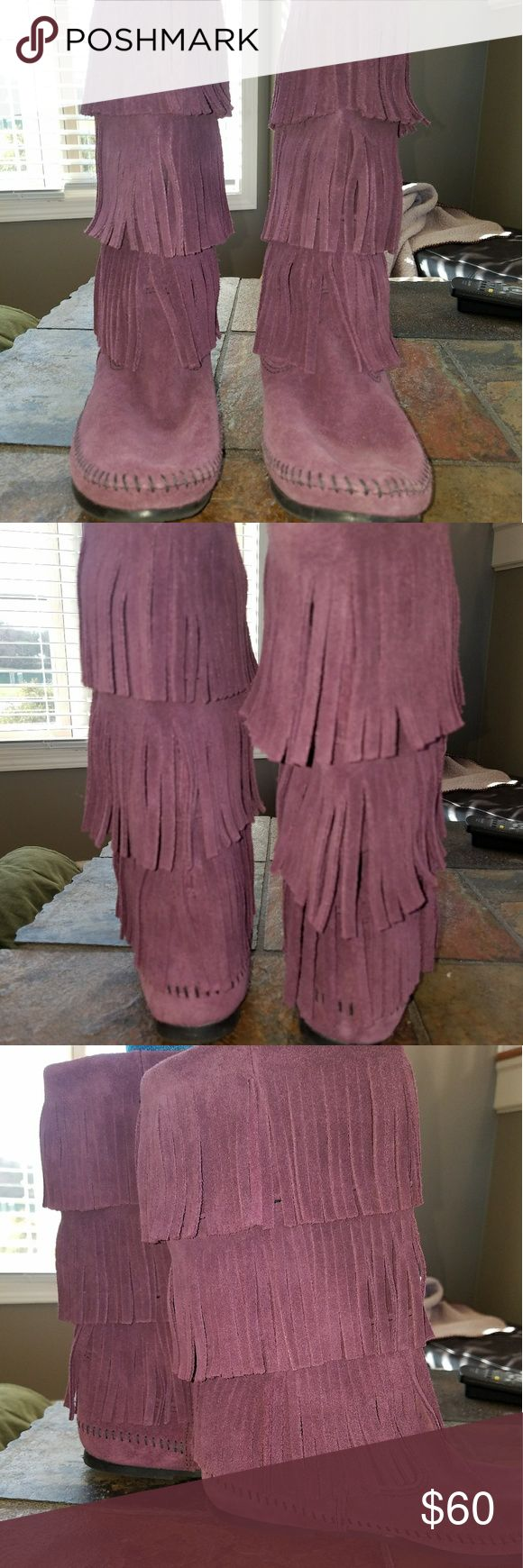 "Minnetonka 3 Layer Fringe Boot Nice beautiful Minnetonka 3 layer fringe boots. They're a nice grape color. Made of soft sturdy suede material. These boots are brand new, they were only worn a few times. They say size 9 but they fit like a size 8. ""Wear these famous and versatile boots with your favorite mini skirt, leggings or skinny jeans-just like trendsetters and fashionistas everywhere. The three layers of suede fringe wrap all the way around and meet you mid-calf."" Minnetonka Shoes"