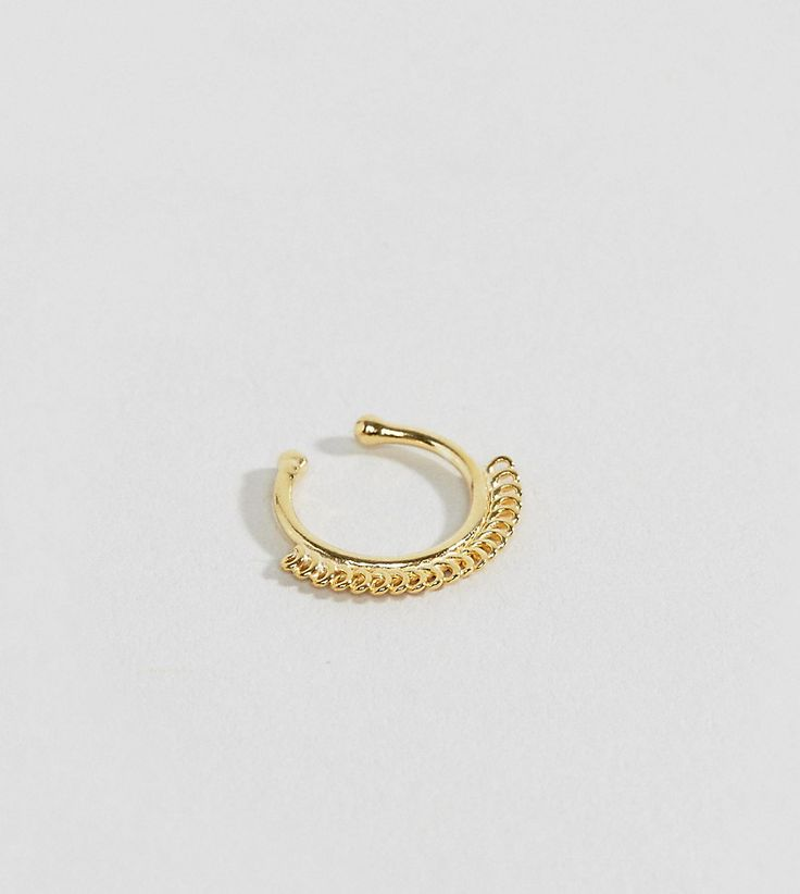 ASOS Gold Plated Sterling Silver Chain Faux Nose Ring - Gold
