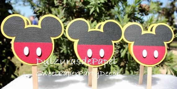 Mickey Mouse Cupcake Toppers, Mickey cupcake toppers, Minnie cupcake toppers