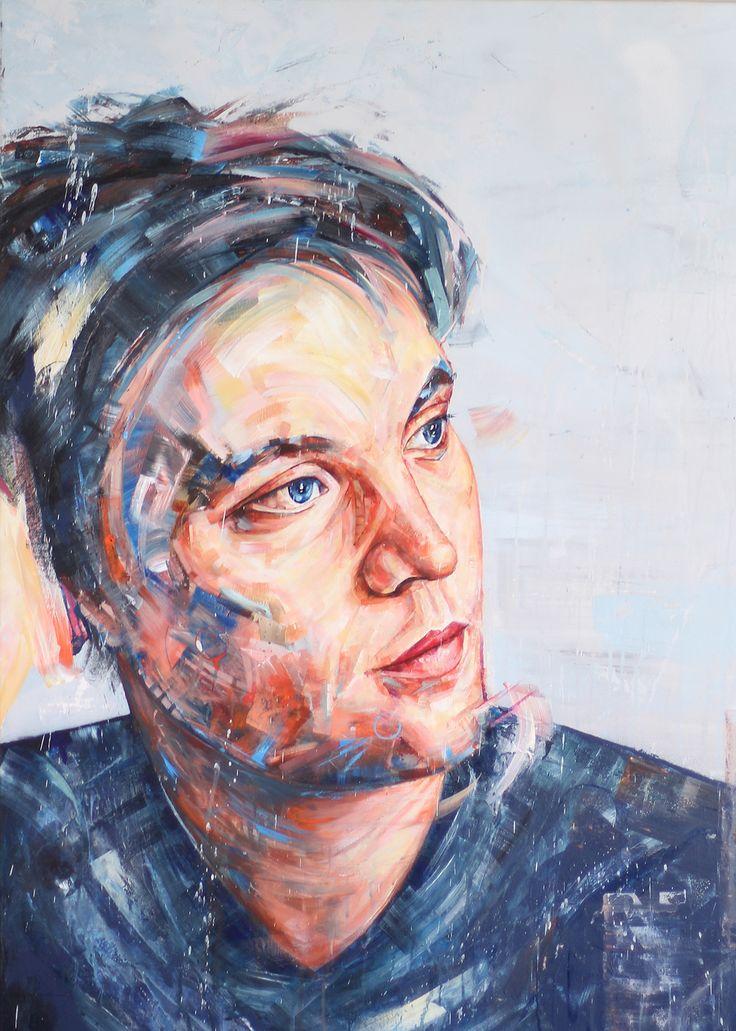 Pierre chabiron, art peinture, portrait, bleu, humain,