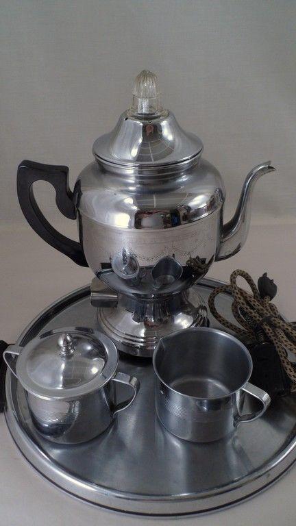 Vintage Farberware #206 Electric Percolator Coffee Maker w/ Cream Sugar & Tray