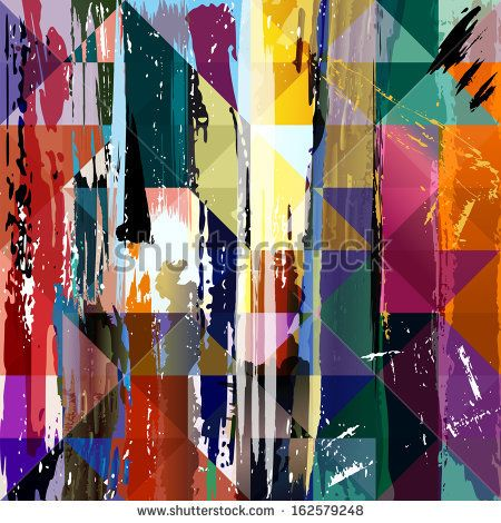 abstract background, with paint strokes, splashes triangles and squares - stock vector