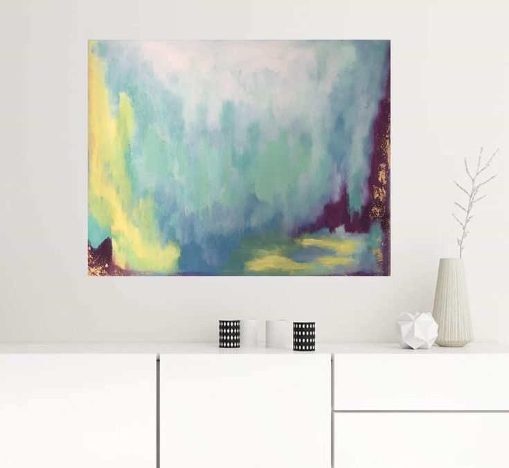 22x28 Turquoise Art Original Abstract Painting Gold
