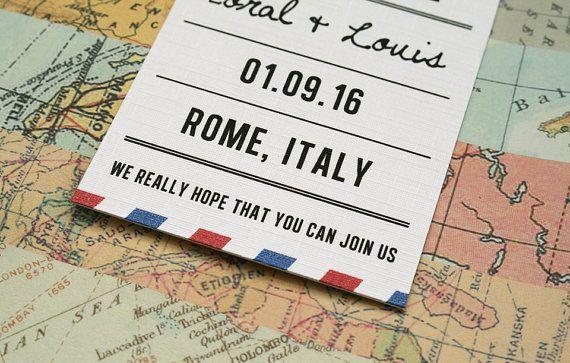 Save the Date  Vintage posta aerea matrimonio a tema