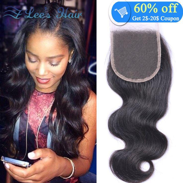 Freies Verschiffen 7A Brasilianisches Spitzeschliessen 4x4 Brasilianische Reine Haarkörperwelle Menschliches Haar Verschluss Weiche Brasilianische haar