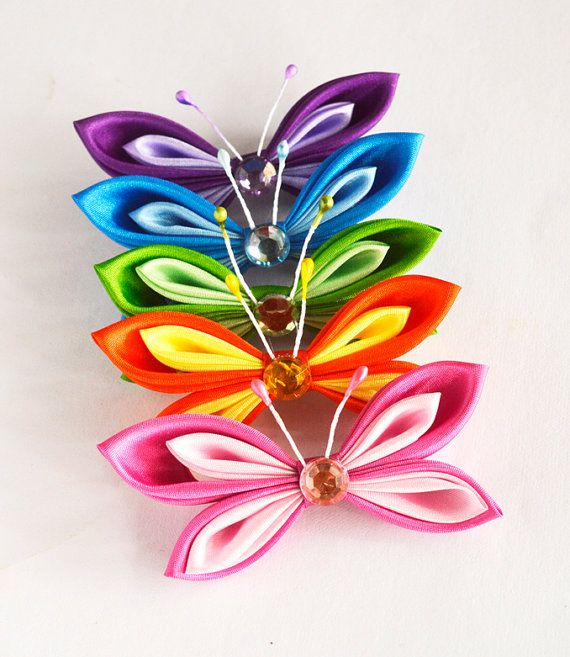 Set of 5 butterfly Kanzashi appliques  5 by MeanwhileCraft on Etsy, $15.00