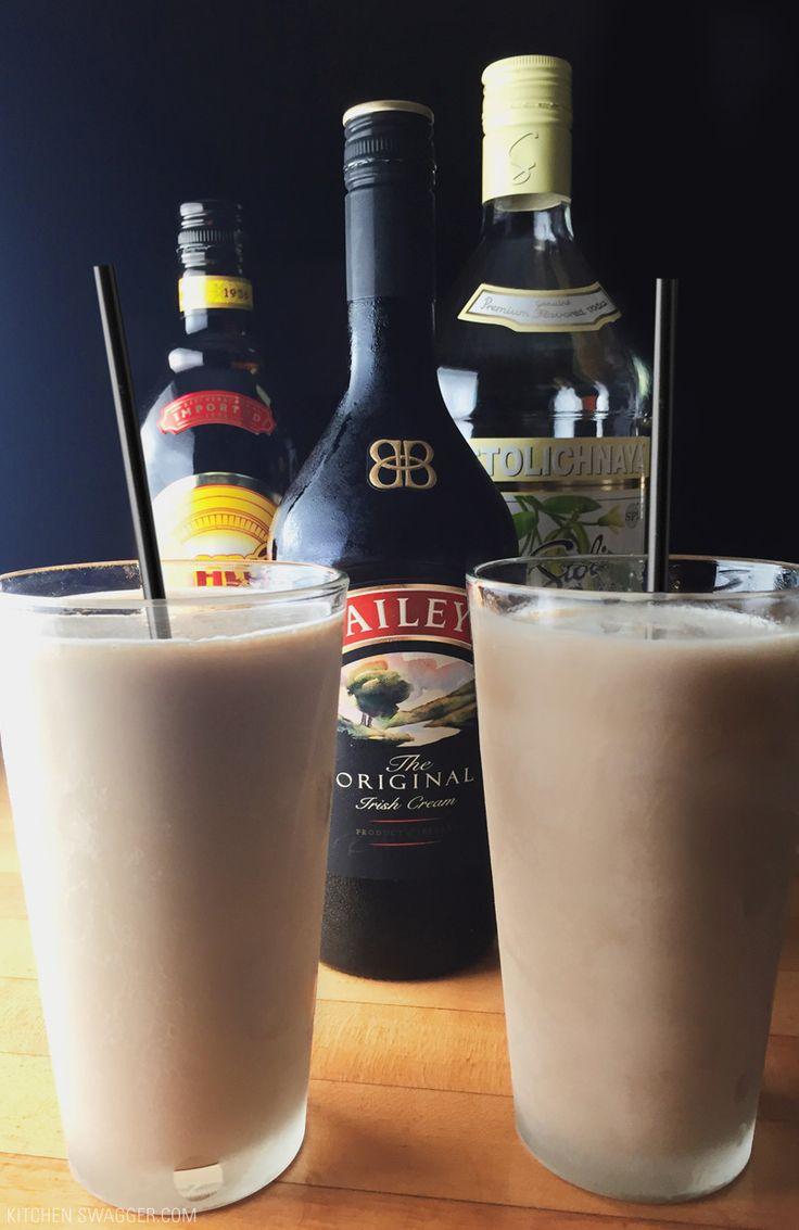 A delicious healthier mudslide recipe with half the calories. All you need is vodka, coffee liquor, Irish cream and ice.