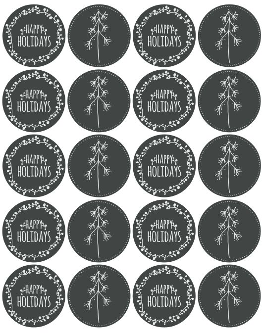 Free holiday labels chalkboard style.