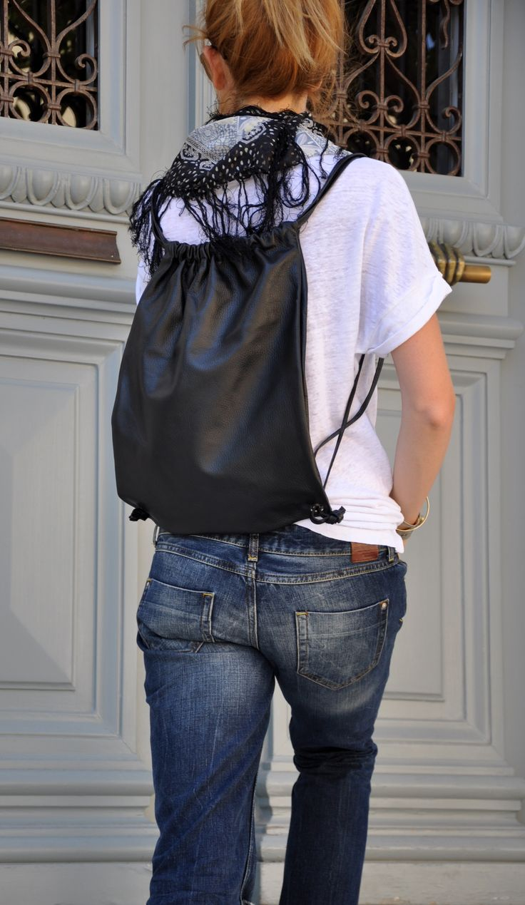 Black leather pouch Bag, Backpack
