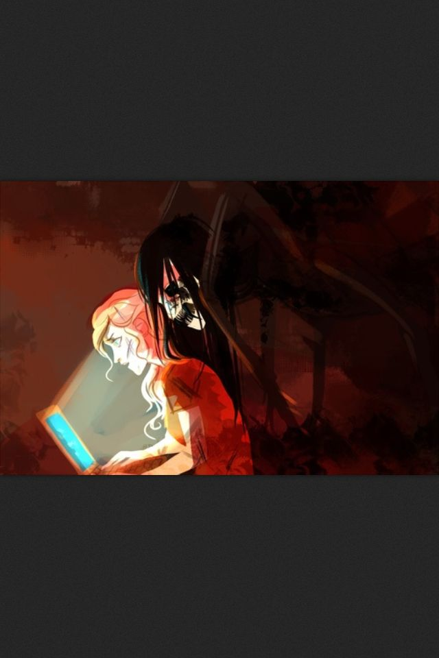 Art by viria// well this is terrifying (its arachne from mark of Athens hovering over Annabeth's shoulder