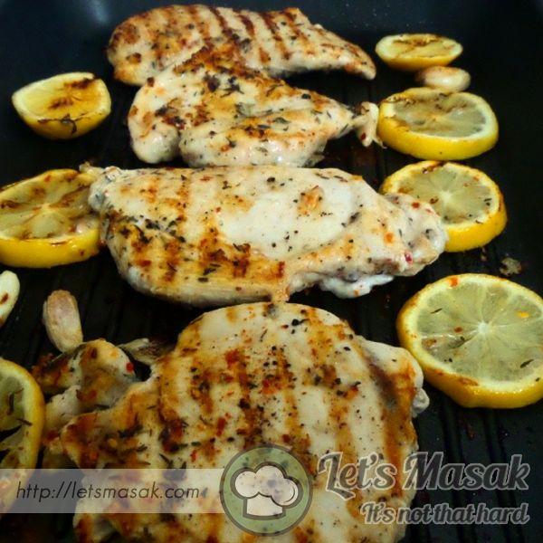 """Get this delicious recipe """"Ayam Lemon Panggang"""" @ http://letsmasak.com/recipe/10154-ayam-lemon-panggang?id=2616"""