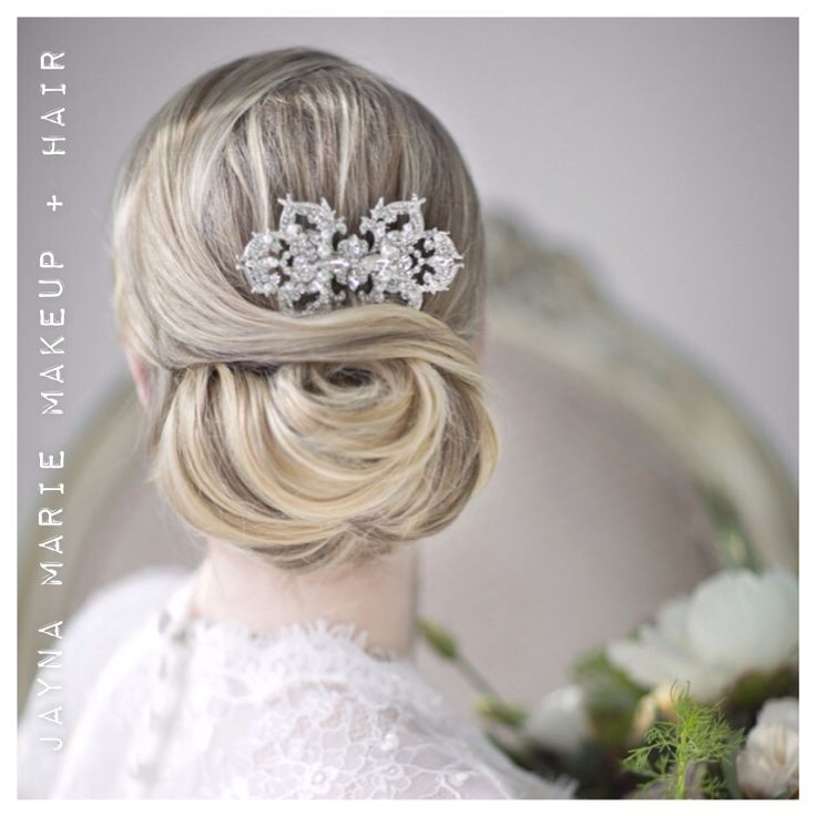 gorgeous classic updo with an accessory from Powder Blue Bijoux. Hair by Jayna Marie Makeup + Hair
