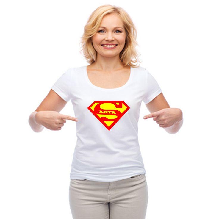 Super Anya- feliratos női karcsúsított fehér pamut póló húsvétra, anyák napjára.