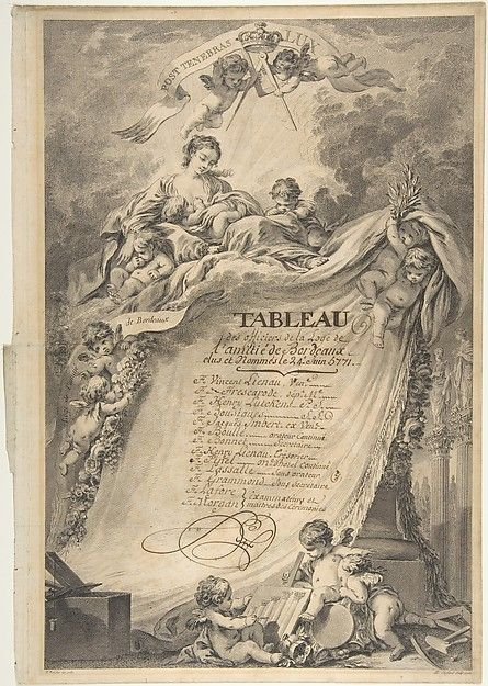 Pierre Philippe Choffard | Diploma for the Freemasons of Bordeaux, after François Boucher by Pierre Philippe Choffard (French, Paris 1730–1809 Paris)