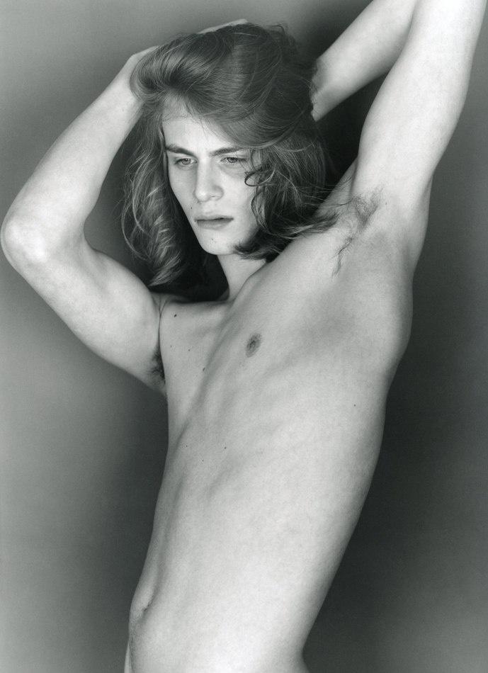 Long hair dude nude think