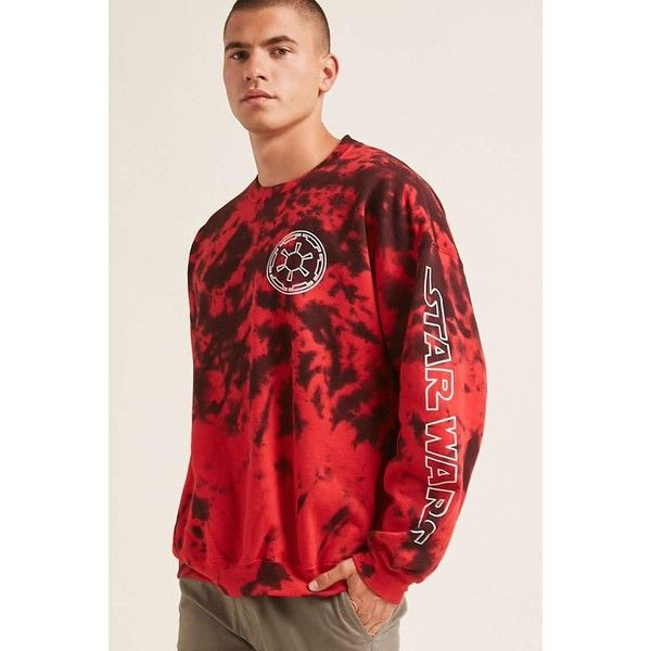 Forever21 Fleece Tie-Dye Star Wars Sweater ($28) ❤ liked on Polyvore featuring men's fashion, men's clothing, men's sweaters, mens graphic sweaters, mens short sleeve sweater and mens fleece sweaters