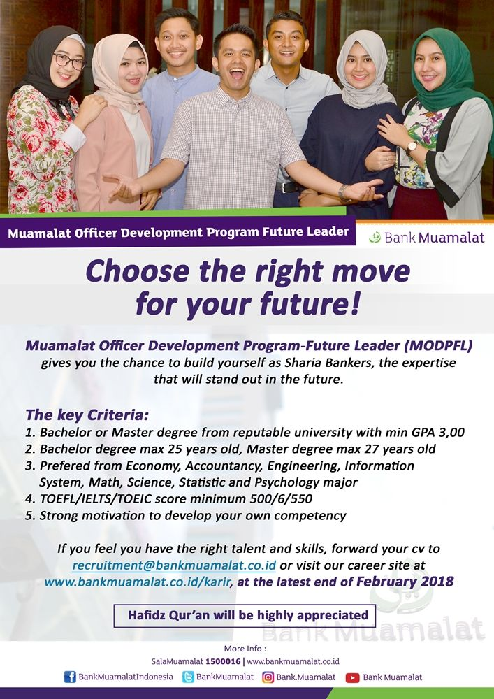 JOIN!  Muamalat Officer Development Program Future Leader from Bank Muamalat with Bachelor or Master Degree >> http://bit.ly/2qkC159   DEADLINE: 3 February 2018 #itbcc #karirITB #ITBcareer