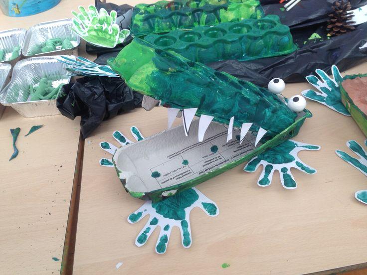 Krokodil met eierdoos