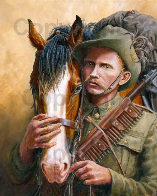 Depicted is Corporal William Greer with his horse Blaze. In 1901, Greer signed up to serve in the Boer War in South Africa. He took his own horse Blaze, having been promised by the Recruitment Officer that Blaze would be allowed to return to Australia with him after the war. Sadly his belief that his beloved Blaze would return with him was dashed. Blaze must stay behind. To save Blaze from abuse, misuse and neglect, William sadly said his last goodbye to Blaze, then shot him. Art by J…