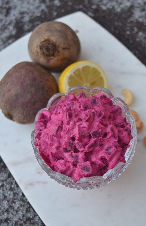 Vegansk rödbetssallad gjord på cashewkräm istället för majonäs. ~Vegan cashew cream based beetroot salad.