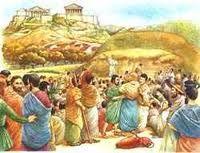 Voorbeeld van een directe democratie. In de Griekse Oudheid mocht het volk mocht zelf belangrijke beslissingen maken. Op het plaatje zie je dat ze zich verzamelen op het marktplein. (Rhani)