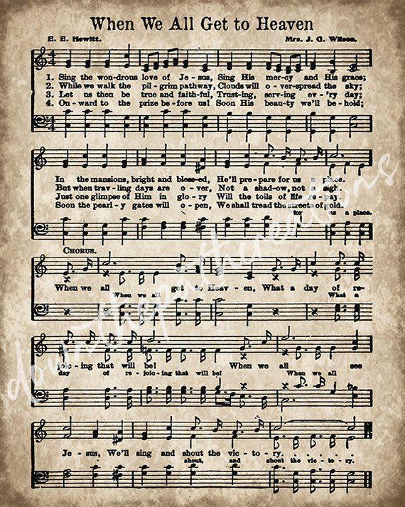 When We All Get To Heaven Print Printable Vintage Sheet Etsy Hymn Sheet Music Hymn Music Sheet Music