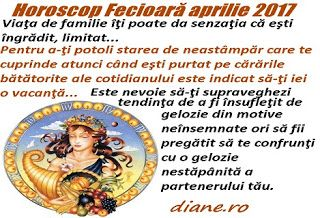 În horoscopul Fecioarei aprilie 2017 precumpăneşte dezideratul de a-ţi armoniza relaţia cu familia şi cel de a te concentra către treburi ne...