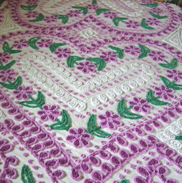 Purple and White Daisy Vintage Chenille Bedspread